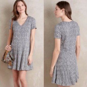 Dolan Left Coast Ribbed Knit Blue Flare Dress S